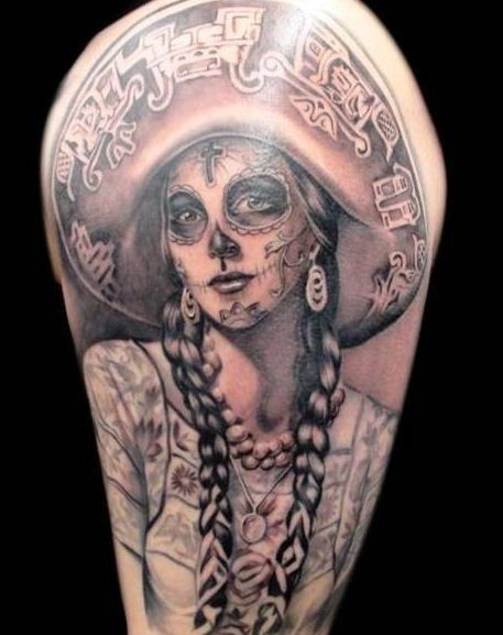 Awesome santa muerte girl tattoo in mexican style for Mexican style tattoos