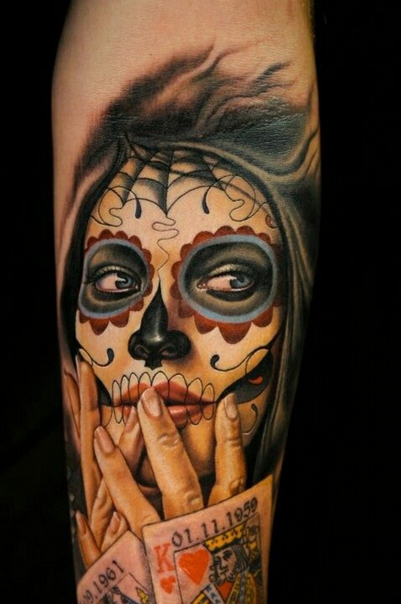Santa muerte girl with playing cards tattoo for Best realistic tattoo artists